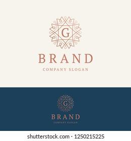 G brand logo. Ornamental monogram template. Round linear logo with letter G