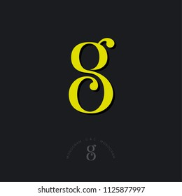 G and C combined letters, the initial of beautiful letters. Classic style. Monochrome option.