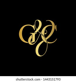 G & C / GC logo initial vector mark. Initial letter G and C GC logo luxury vector mark, gold color on black background.