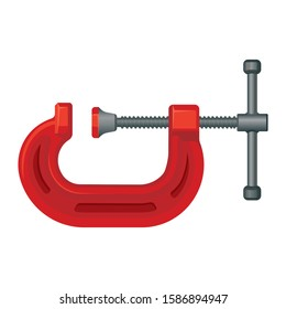 G clamp tool. Steel vice equipment for metal object. Vector
