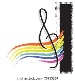 G clef symbol with a rainbow