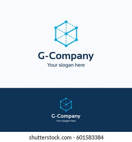 G company construction technology logo, service letter 3D template, cube frame project isolated on white background logo.