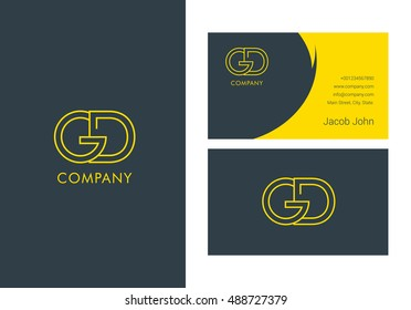 G & D Letter logo, with Business card