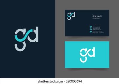 G & D Letter logo design, with Business card Template