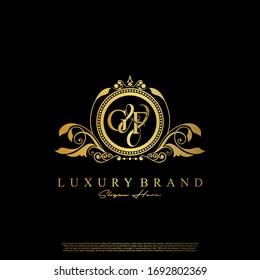 G & F / GF logo initial vector mark. Initial letter G and F GF logo luxury vector mark, gold color elegant classical symmetric curves decor.
