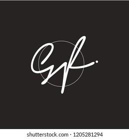 G F Signature initial logo template vector