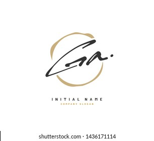 G A GA Beauty vector initial logo, handwriting logo of initial signature, wedding, fashion, jewerly, boutique, floral and botanical with creative template for any company or business.