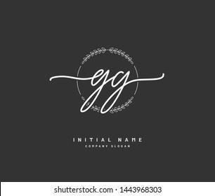 G GG Beauty vector initial logo, handwriting logo of initial signature