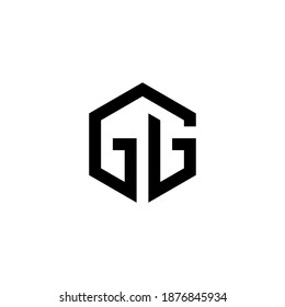 g gg initial logo design vector template
