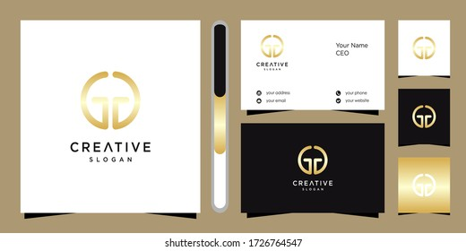 G GG letter logo design template vector and business card