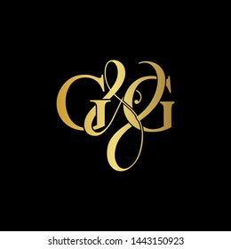 G & G / GG logo initial vector mark. Initial letter G and G GG logo luxury vector mark, gold color on black background.