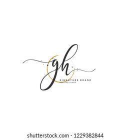 G H GH Initial logo template vector