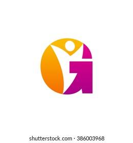 G initial alphabet letter logo with negative space swoosh man, orange purple