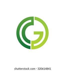 G initial circle company or GO OG logo green