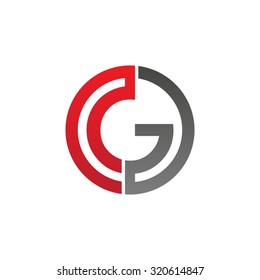 G initial circle company or GO OG logo red
