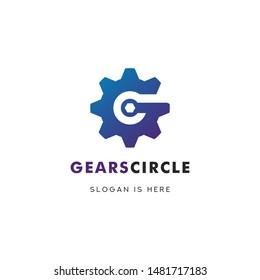 G Initial Gears Circle Logo Designs Concept Vector