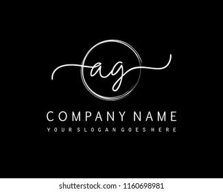 A G Initial handwriting logo vector