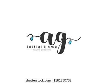 A G Initial handwriting logo vector template