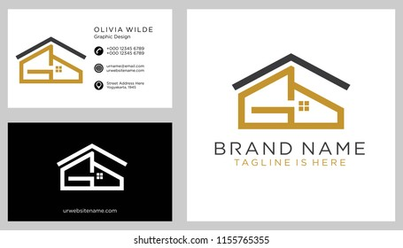 G initial logo with business card vector template
