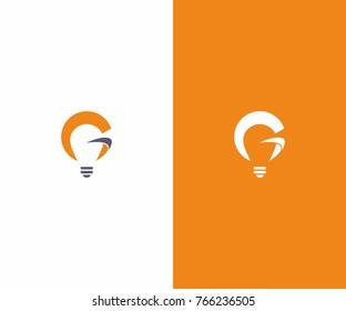 g initial logo, lamp logo, idea logo, smart brain icon vector template
