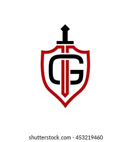 G initial - Sword and Shield logo