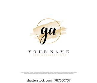 G A Initial water color logo template vector