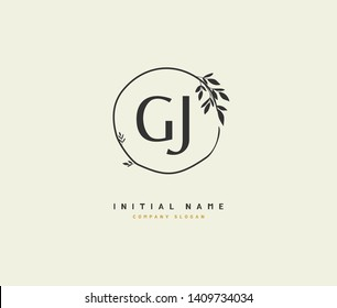G J GJ Beauty vector initial logo, handwriting logo of initial wedding, fashion, jewerly, heraldic, boutique, floral and botanical with creative template for any company or business.