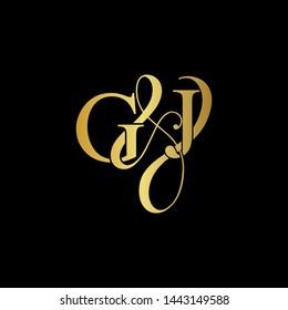 G & J / GJ logo initial vector mark. Initial letter G and J GJ logo luxury vector mark, gold color on black background.