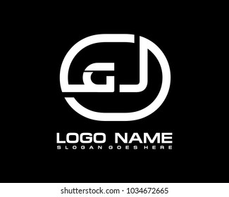 G J Initial circle logo template vector