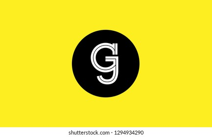 G, J, G J, g j letter Creative Minimal Abstract Unique Luxury Style Premium Vector Logo Design Template Element in white color connected with black circle with yellow background.