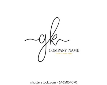 G K GK Initial handwriting logo design with circle. Beautyful design handwritten logo for fashion, team, wedding, luxury logo.