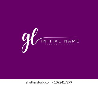 G L Initial handwriting logo vector. Hand lettering for designs.