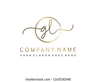 G L Initial handwriting logo vector