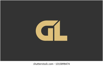 G, L, G L, L G Letter Creative Minimal Abstract Unique Luxury Style Premium Graphic Alphabet Icon Vector Logo Design Template Element in Golden color with Gray background.