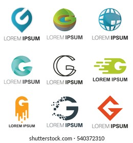 G Letter Abstract Vector Logo Design Template. Creative Typographic Concept Icon Set