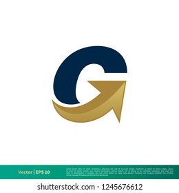 G Letter Arrow Icon Vector Logo Template