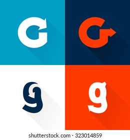 G letter with arrows set. Vector design template elements for your application or corporate identity.