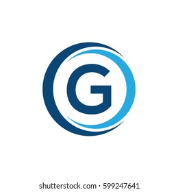 G letter circle swoosh logo design