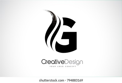G Letter Design Brush Paint Stroke. Letter Logo with Black Paintbrush Stroke.
