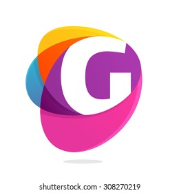 G letter with ellipses intersection logo. Abstract trendy multicolored vector design template elements for your application or corporate identity.