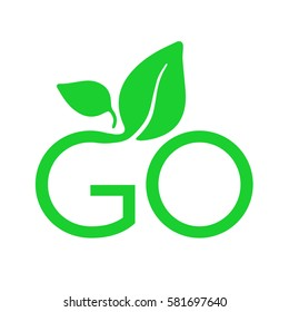 G Letter Go Green Logo with Leaves Typography Icon Badge