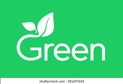 G Letter Green Logo with Leaves Typography Icon Badge