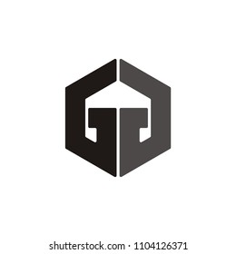 G G letter hexagon linked vector logo modern