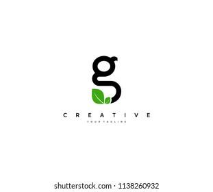 g letter with leaf icon design logo