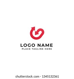 G letter logo design line with in out arrow vector icon illustration
