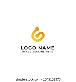 G letter logo design line with double dot vector icon illustration