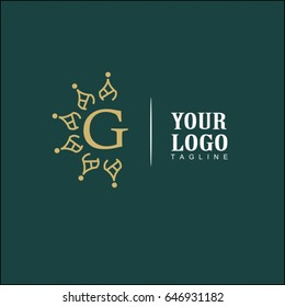G Letter Luxury Logo. Simple and elegant floral design logo, Elegant linear luxury vector for brand identity