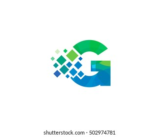 G Letter Pixel Multiply Colorful Logo Design Template
