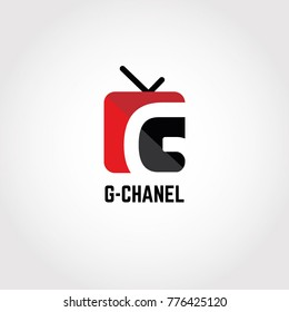 G Letter Red TV Video Channel Sing Symbol Logo Icon