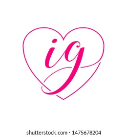I G letter shape heart icon logo design